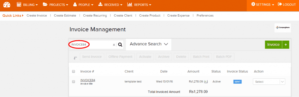 searc invoice