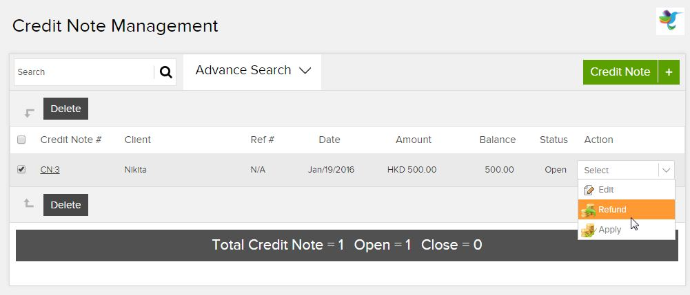 credit note refund