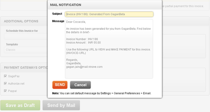 sent invoices