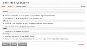 Qucikbooks account to your Invoicera account