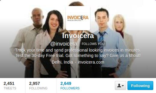 Twitter Profile Invoicera