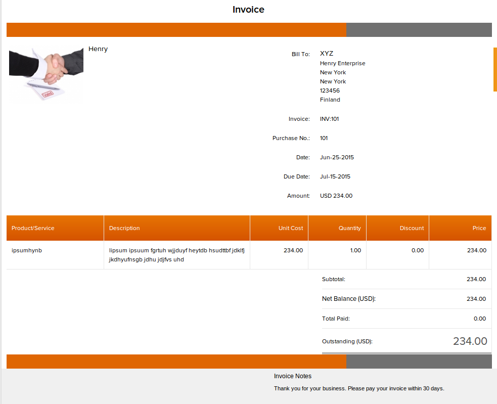 INVOICERA INVOICE SAMPLE