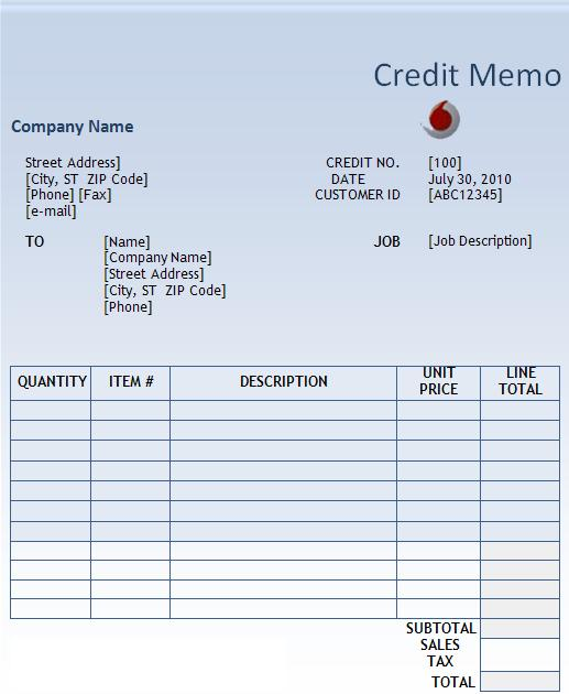 Credit Memo Vs Invoice  Credit Note Form