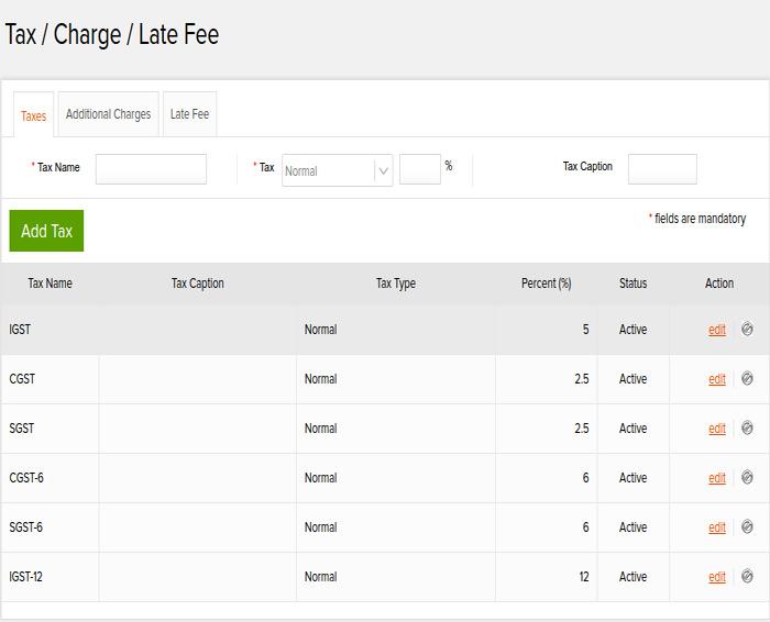 tax/charge/late fee