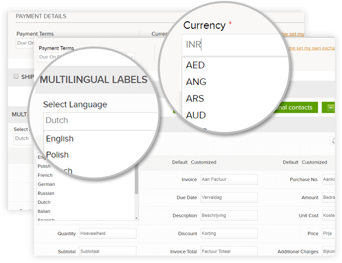 Automatic Currency And Language Conversions  Online Invoice Creator