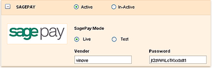 Payment for invoices through SAGEPAY